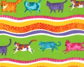 Lime Cat Print from the Prisma Cats Collection, by Moda, 1 yard