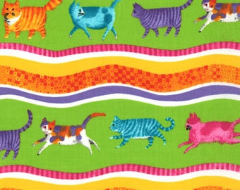 Lime Cat Print from the Prisma Cats Collection, by Moda