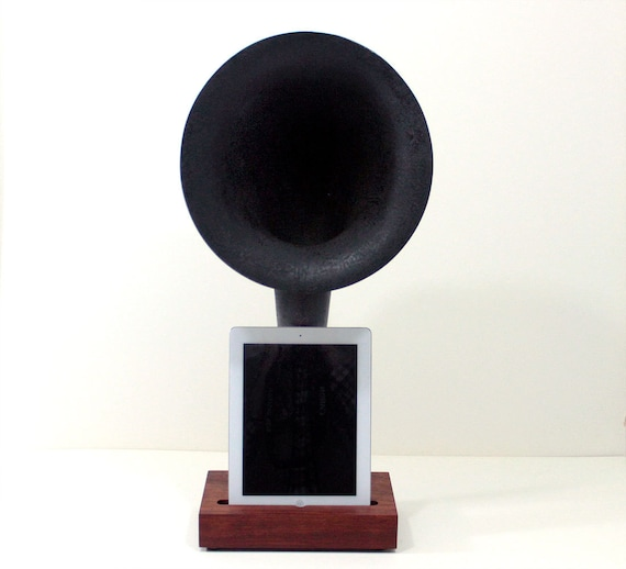 iHorn - iPad - iPad mini - iPhone - Acoustic  Speaker Horn - Vintage Radio look - Old Time Speaker System for your iDevice