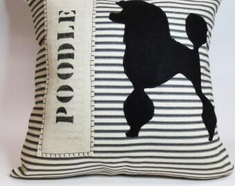 Standard Poodle Silhouette Pillow - Decorative Standard Poodle Felt Silhouette Pillow, Stripe Poodle felt Silhouette Pillow, Dog Silhouette