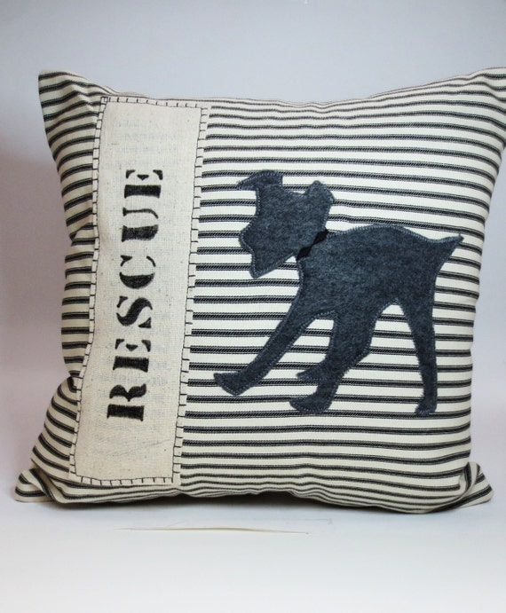 Rescue Dog Decorative Throw Pillow Cushion by ecarlateboutique