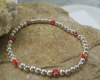 Evil Eye Bead Bracelet, Silver Bracelet, Red Evil Eye Charm Bracelet, Beaded Silver Bracelet, Stretch Yoga Jewelry