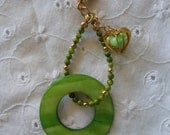 Green Mother of Pearl Heart Dangle