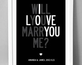 Personalized Will You Marry Me, matte luxury poster. A3, 29.7 x 42cm.