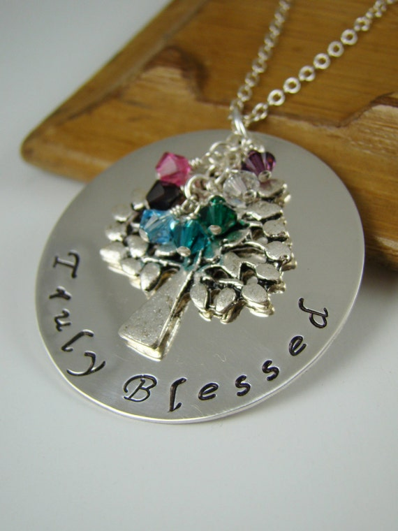 items similar to birthstone necklace family tree pendant