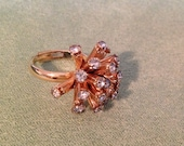 Vintage Faux Gold and Rhinestone Starburst Cocktail Ring