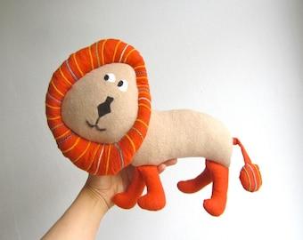Lion, organic, plush, orange, animal, toy, baby, child, soft, shower gift, toddler, cosy, cuddly, eco friendly