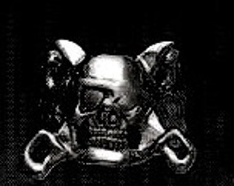 PIRATE Skull Ring Sterling Silver Free Shipping