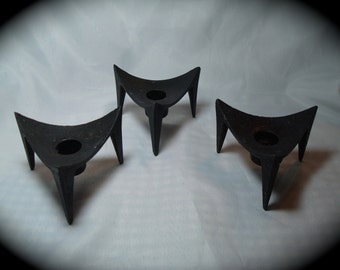 1960s Trio of Black Forged Metal Retro Candle Holders.