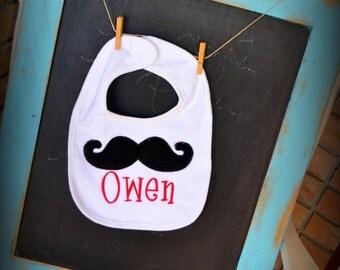 Custom Mustache Beard Bib Monogrammed