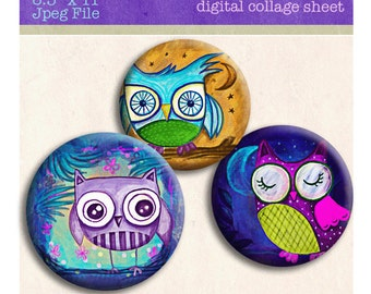 Owl . Hoot Digital Collage sheet 1 inch circle for photo pendants bottlecaps scrapbooking magnets pin badges and more