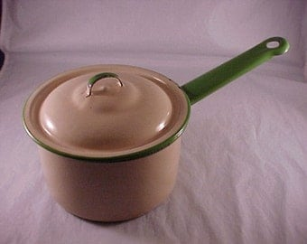 Enamelware Covered Pot Pan Cream With Green Trim