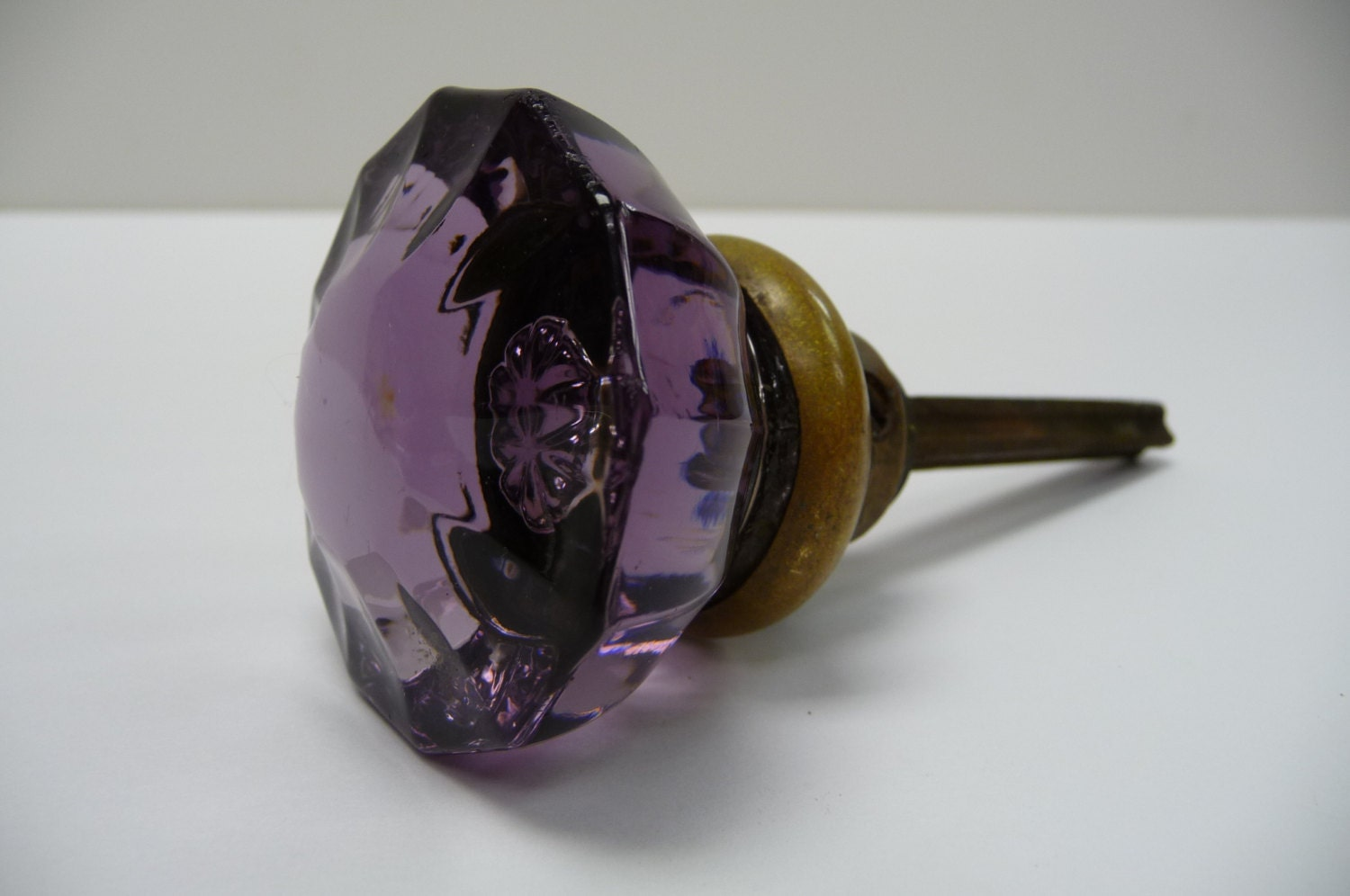 Vintage Door Knob Purple Glass Amethyst Handle Restoration