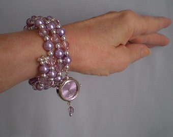 Memory Wire Bracelet Watch Purple Dangling Charm Lavender Lilac Orchid Pearls Czech Faceted Beads Silver