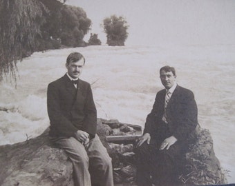 "antique photograph, 2 Men at Niagara Falls - vintage Victorian photo, ready to frame, 7"" x 9"""
