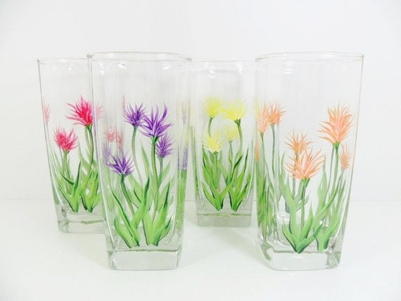 Water Glasses Hand Painted Hand Painted Glasses Thistle Flowers Set of 4