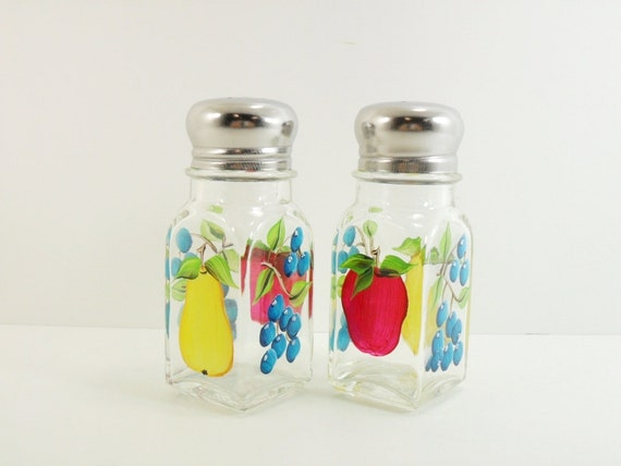 Hand Painted Salt Pepper Shakers Hand Painted Fruit Apple Pear Blueberries