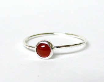Oxblood red carnelian ring sterling silver ring silver stacking ring gemstone ring stone ring