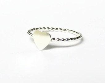 Sterling silver heart ring dot ring 925 Sterling silver ring stackable ring silver stacking ring tiny heart ring