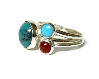 Sterling silver ring silver turquoise ring oxblood red carnelian ring gemstone stacking rings set aqua blue