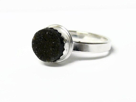Black druzy ring sterling silver ring mineral ring drusy ring statement ring cocktail ring druzy jewelry