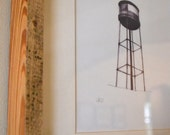 Water Tower Print in Reclaimed Wood Frame- Free Shipping