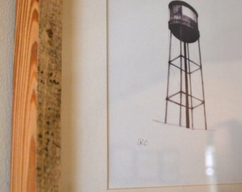 Water Tower Print in Reclaimed Wood Frame Set of 2 - Free Shipping