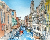 Venice Canal Italy  art print from an original watercolor painting