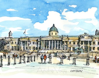 London National Gallery art print from original watercolor painting