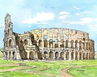 Rome Colosseum art print from original watercolor painting