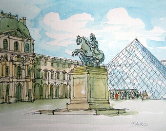 Paris Louvre art print from an original watercolour painting
