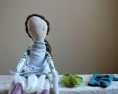 rag doll scrap-happy rabbit hat brown hair waldorf inspired dolly JOY