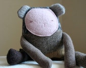 huggable bear upcycled wool plush scrappy teddy bear