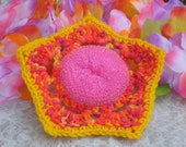 Dish flower scurbby - crochet - fun Neon colors - Who said doing dishes had to be boring