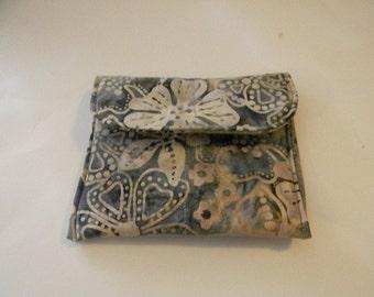 Gray Floral Batik Pocket Purse