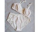 Sweet Floral 'Primrose' Cotton and Lace  Vintage Style Lingerie Set