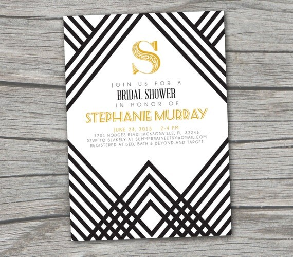 Gatsby Art Deco Bridal Shower Invitation - Digital/Printable