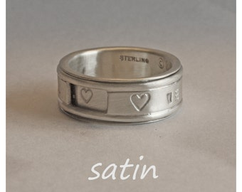 magic SPIN ring. PERSONALIZED. REVOLVER. Custom messages outside and hidden one. Handcrafted silver. Unisex. Any size. Made fast to order