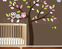 Baby nursery wall decal baby girl wall decals Wall sticker vinyl owl tree wall decals