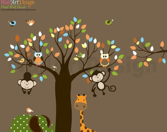 Childrens Wall Decal Jungle Safari Tree Monkeys Elephant Giraffe Vinyl Wall Decals Nursery