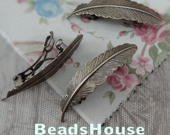 4pcs  Antique Bronze Plated Brass Feather Filigree Hair Clip,NICKEL FREE