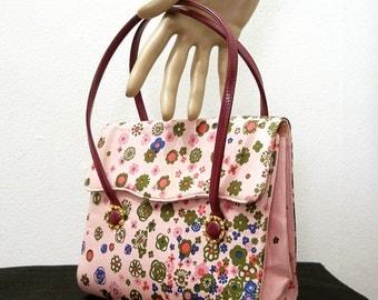 Vintage 1960s Waldybag Handbag Authentic Pink Floral Waldybag