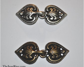 Charming cloak clasp metal fasteners - Hook and eye fasteners for fantasy clothing and Larp. 6 Pairs