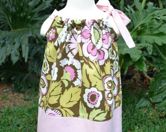EASTER Pillowcase Dress, floral spring dress, Easter outfit baby, Little Girls Dress, pink and brown dress, Easter outfit for toddler