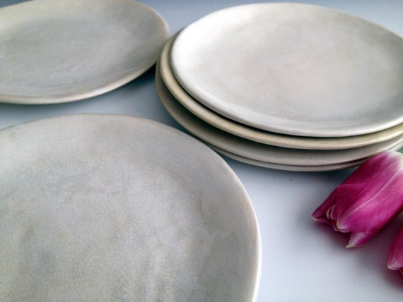 Handmade organic white crackle slab side plates, set of six by Leslie Freeman