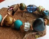 Lampwork and Leather Beaded Bracelet,Tulip Bracelet,Knotted Bracelet