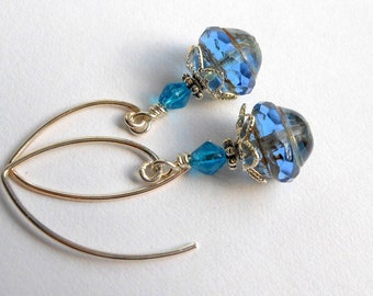 Sterling Silver Earrings-Sapphire Blue Earrings-French Marquis Earwires-Saturn Beads