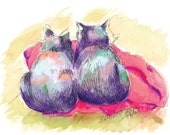 Purple Cats, Red Blanket, Digital Print