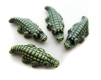 20 Large Glazed Alligator Beads