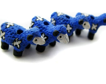 4 Large Blue Sheep Beads